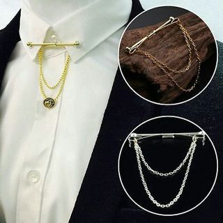 Vintage Men Silver Gold Necktie Tie Clip Bar Clasp Pin Skinny Collar Brooch New