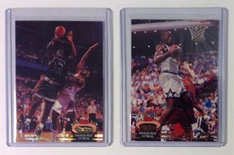 Shaquille O'Neal Rookie 1992-93 Topps Stadium Club #s 201 and 247 Basketball Trading Cards HOFer