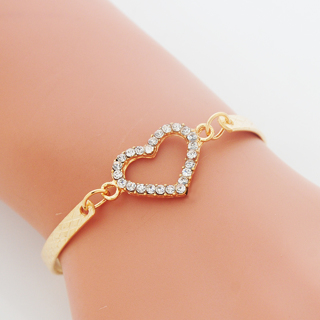 New Fashion Crystal Heart Charm Bracelets for Women Bangle Jewelry Gold Color Link Chain Bracelet
