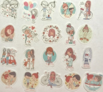 ☆※☆※☆NEW ITEM!!! ♥♥KAWAII CUTE HAPPY LITTLE COLLEGE COUPLES (HIGH END) STICKER FLAKES 20PC♥♥