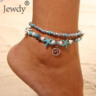 Bohemian Wave Turtle Anklets For Women Vintage Multi Layer Bead Anklet Leg Bracelet Sandals Boho DIY