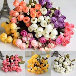 30 Heads Artificial Rose Silk Flowers White Camellia Peony Bouquet Room Decor
