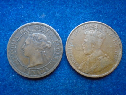 1886 & 1913 CANADA ONE PENNY'S FULL BOLD DATES!