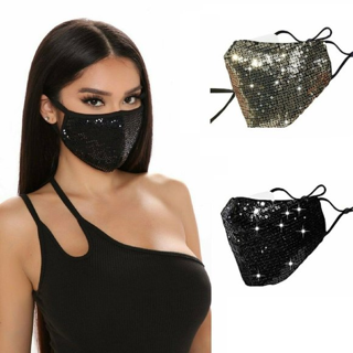 NEW [2-Pack] Sequins Face Mask Unisex Fashion Glittery Reusable FREE SHIPPING