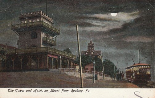 Vintage Used Postcard: 1906 Tower and Hotel on Mount Penn, Reading, PA