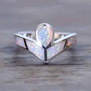 Fashion Women Crystal Opal Silver Creative Wedding Charm Beauty Engagement Ring
