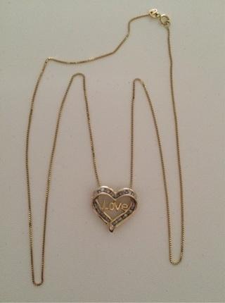 10k Heart LOVE Diamonds Pendant & 14k Necklace- BEAUTIFUL MUST SEE!