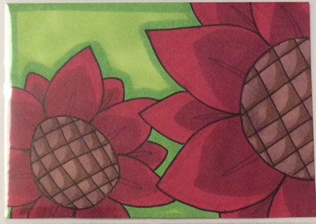 Red Sunflowers original drawing aceo