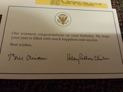 Free Birthday Card From President Bill Clinton And His Wife Hillary
