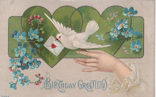 Vintage Used Postcard: Embossed: Birthday Greetings