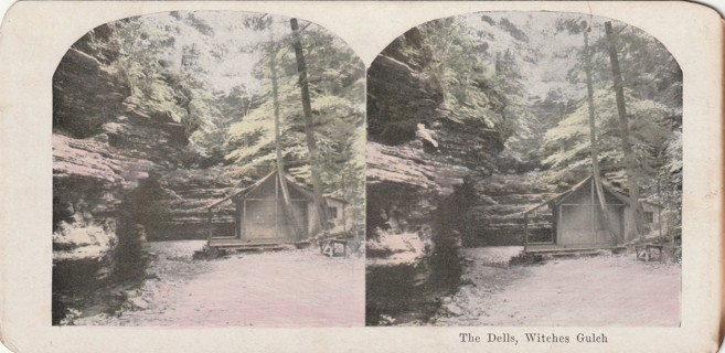 Vintage Early 1900-1920 Stereograph, Photo card: Wisconsin Dells: Witches Gulch