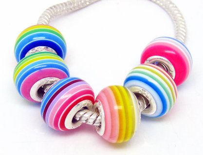 Rainbow color✿925 Stamp Core✿Random Color Resin Striped 6 Beads Fit Pandora Bracelet