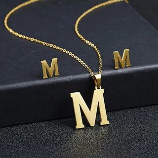 Rinhoo M Letters Stainless Steel Gold Color Necklace Earrings for Women Jewelry Sets