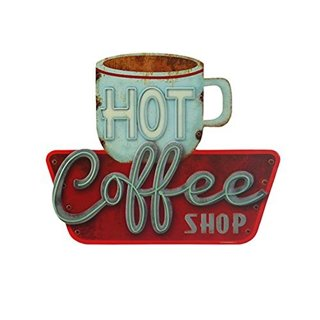 Die Cut Embossed Tin Sign, Hot Coffee Shop