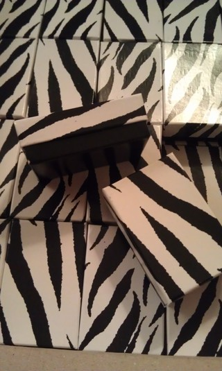 JEWELRY BOXES - Qty 10 - Zebra Print - POLY-FILLED - Size #11 SMALL - FREE SHPG :D