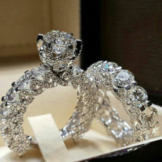 [GIN FOR FREE SHIPPING] 925 Silver Filled White Sapphire Birthstone Engagement Wedding Rings Set