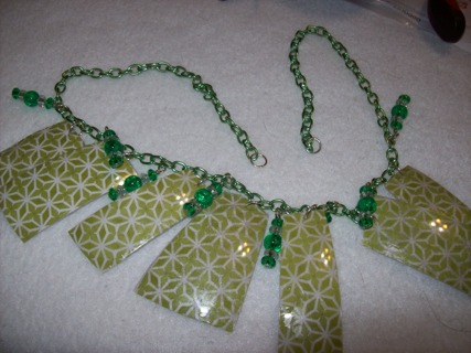 green upcycled necklace