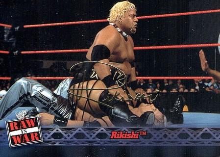WWE WWF RAW Is WAR Fleer 2001 Collectible Facsimile Autograph Card #14 Rikishi