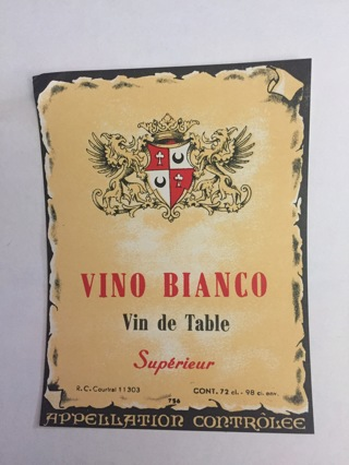 VINO BLANCO VIN DE TABLE SUPERIEUR VINTAGE BEVERAGE EPHEMERA NEW OLD STOCK LABEL