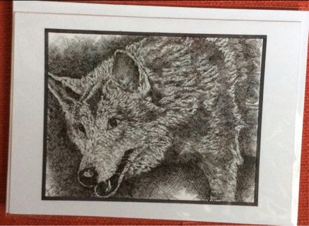 "CURIOUS WOLF - 5 x 7"" art card by artist Nina Struthers - GIN ONLY"