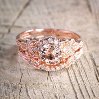 2Pcs Ring/Set Rose Gold Filled White Crystal Elegant Wedding Engagement Jewelry