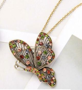 Betsey Johnson Colorful Butterfly Necklace-  NEW
