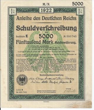 German bond 5000 Marks dated 1922 Germany eagle coat of arms symbol