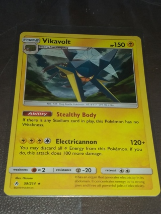 VIKAVOLT REVERSE HOLOGRAPHIC POKEMON MINT CONDITION CARD