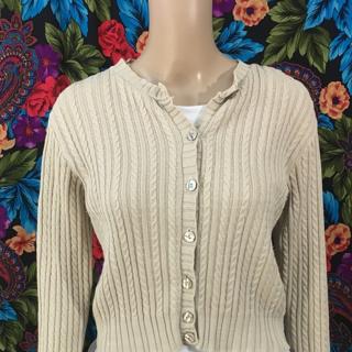Women's Plain Beige Cardigan Sweater Button ridged