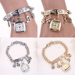 Stainless Chain Fashion Steel New Women's Bracelet Wrist Rhinestone Watch