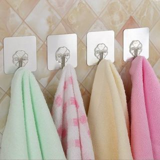 8Pcs Heavy Duty Wall Hooks Clear Adhesive Hanger Sticker with Stainless
