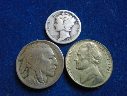 1916 1920-D & 1943-P U.S. OLD COINS WITH SILVER!