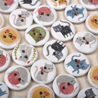 50Pcs 15mm Round Wooden Buttons 2 Holes Lovely Cat Printed Wood Buttons