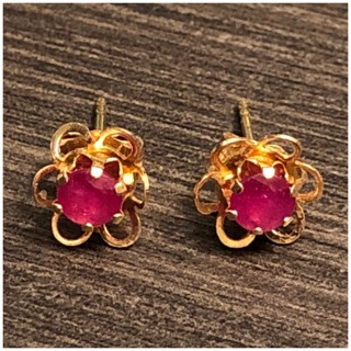 14KT Yellow Gold Pink Topaz Flower Design Child Size Stud Earrings