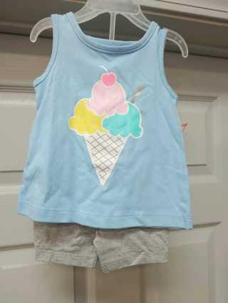 NWT!! Kidgets Girls Ice Cream Sparkle 2pc Short Set-Size 12M--  60% Cotton 40% Polyester