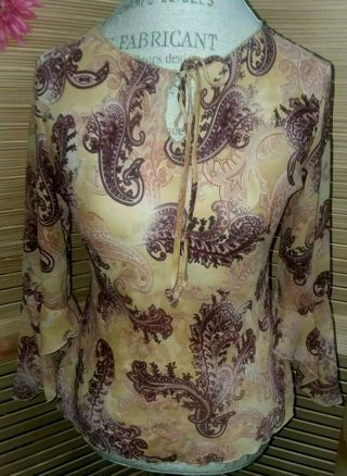 GORGEOUS Bell Sleeve Tie Front Blouse Womens Large