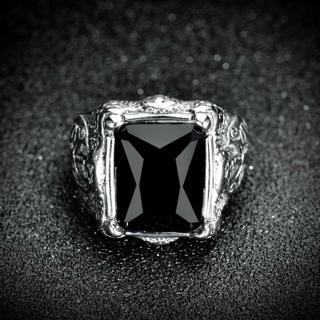 Men's Silver Stainless Steel Black Baguette Onyx Wedding Biker Ring Band Jewelry
