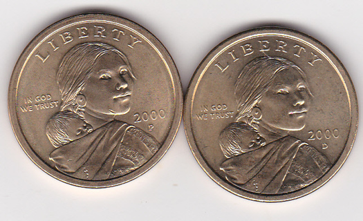 1st YEAR UNCIRCULATED 2000 P&D SACAGAWEA DOLLAR COINS