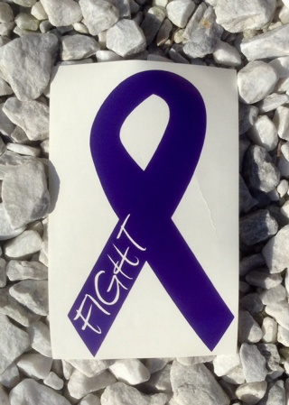 Animal abuse Awareness Vinyl Decal/Sticker/Vehicle Purple Fight Ribbon