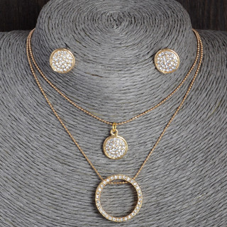 Gold Color Austrian Crystal Classic Hollow Round 48cm necklace pendant earrings jewelry