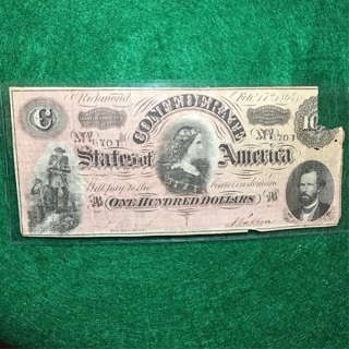1864 Confederate $100 Bill ($100 are Harder to find) Civil War Note