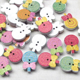 50PCs Wood Buttons Lollipop Sewing Craft 2 Holes