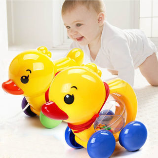 Lovely Pull Rope Duck Animals Baby Rattles Kids Music Handbell Shaking Bell