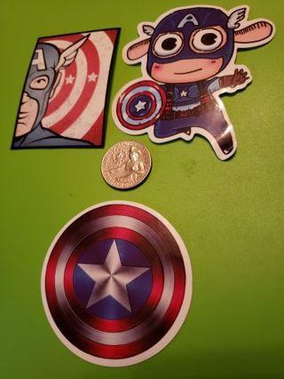 Marvel Captain America Set of 3 Vinyl Decal Laptop Phone Bike Sticker Avengers