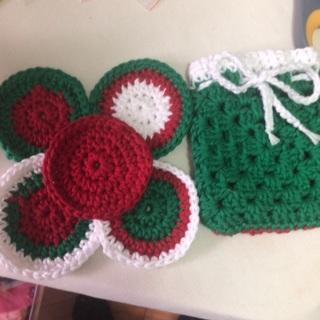 Hand Crochet 5 Facial Scrubs in a Sack. #09
