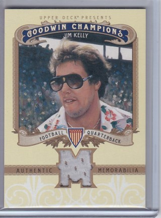 Jim Kelly Jersey Relic - 2012 Upper Deck Goodwin Champions Card# M-JK , NFL Hall of Famer !!!