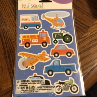 27ct Vehicle Stickers for kids - 3 sheets bnip