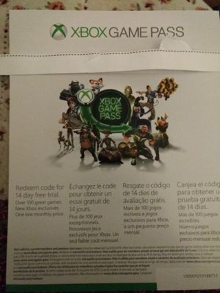 XBOX game pass 14 day trial