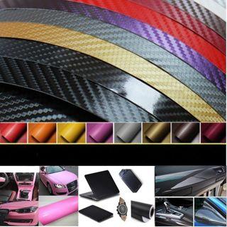 5D Premium HIGH GLOSS Carbon Fiber Vinyl Film Wrap Bubble Free Air Release BW