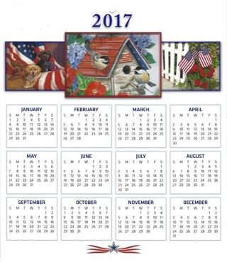 2017 Calendar -DAV - DisAbled Veterans - patriotic calendar with Conversion Chart - full color (#3)